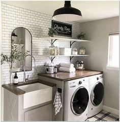 A dream laundry room makeover - We all dream of the perfect projects .- A dream laundry room makeover – We all dream of realizing the perfect home remodeling projects – no matter – - Laundry Room Remodel, Laundry In Bathroom, Laundry Decor, Small Laundry Rooms, Remodel Bathroom, Farmhouse Laundry Rooms, Laundry Room Utility Sink, Mudroom Laundry Room, Decorate Laundry Rooms