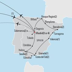 explorica Map of Best of Spain tour