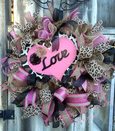 Leopard Valentine's Wreath with pink and black, Deco Mesh Valentine's wreath, Heart Valentine wreath, Valentine wreath, Ribbon Valentine by Latitudeswithattitud on Etsy