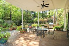 Covered patio with summer kitchen.