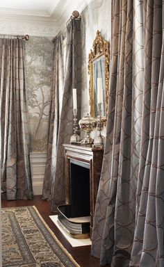 Eye For Design: Decorating With Grisaille For Soft Elegant Walls Drapery Designs, Window Coverings, Custom Window Treatments, Window Styles, Home, Interior, Curtains With Blinds, Home Decor, Interior Garden
