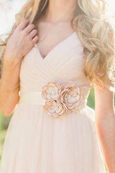 Bridal Gown Dress Sash. Bridal Champagne Flower by RomanticARTlife
