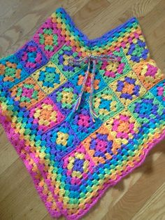 Colorful granny square poncho for kids