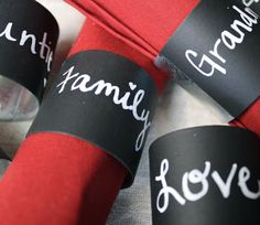 Chalkboard paint napkin rings! What a cute idea! Cheat by using an empty cardboard paper towel tube and cut to the desired width.