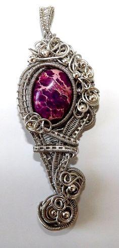 Wire wrap jasper silver colored copper purple by ArtWireKaty
