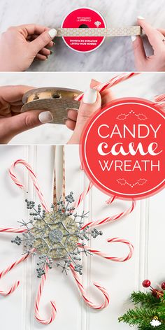 Create A Festive DIY Holiday Wreath Using Candy Canes Christmas Arts And Crafts, Christmas Gift Decorations, Christmas Goodies, Holiday Wreaths, Christmas Holidays, Christmas Ornaments, Holiday Crafts, Candy Cane Crafts, Thoughtful Christmas Gifts