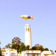 Minion flying over coit tower - just another day in sf