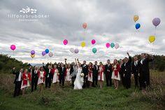 UP wedding photos, fall wedding, balloons, wedding party Tiffany Brubaker Photography – La Crosse, WI wedding photographer
