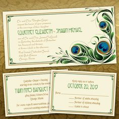 Custom Abstract Peacock Wedding Invitations; Art Nouveau 1920's influence and design; blue, green and cream
