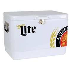 54 Qt. Stainless Steel Miller Lite Ice Chest Cooler, White