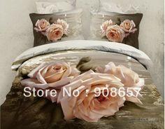 light pink rose flower print 3D girls bedding 400TC cotton bed clothes comforter queen full duvet quilt doona covers sheet set