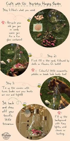 DIY: Make your own itsy-bitsy hanging garden terrarium.