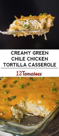 mexican recipes with chicken Creamy Green Chile Chicken Tortilla Casserole Mexican Dishes, Mexican Food Recipes, New Recipes, Cooking Recipes, Favorite Recipes, Cooking Tips, Recipies, Dinner Recipes, Seafood Recipes