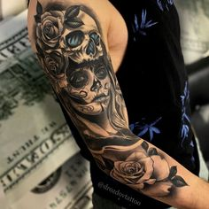 The biggest database to search Tattoo Artists worldwide by location and style of tattoo. We guarantee you'll discover the right artist for your next project! Schulterpanzer Tattoo, Skull Girl Tattoo, Skull Sleeve Tattoos, Best Sleeve Tattoos, Tattoo Sleeve Designs, Samoan Tattoo, Polynesian Tattoos, Day Of The Dead Tattoo Sleeve, Tattoos For Women Half Sleeve