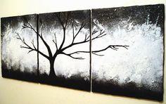 ❘❘❙❙❚❚ UITVERKOOP ❚❚❙❙❘❘  De originele schilderijen te koop moderne kunst van De wilde hout abstracts  zwaar geweven illustraties, zult u willen aanraken!  * Dit is een stuk van de Commissie 7-10 dagen tot voltooiing *  -Geschilderd in zwart -wit, grijstinten, met een basis van dikke gips voor extra diepte & contrast... Op 3 grote doeken meten een totaal van 20 x 48 inch  -Media: Acryl & gips ondersteuning: Canvas (Stretched) op houten Frame  -Schilderij kan verticaal of horizontaal hangen…