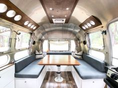 Airstream Dinette after renovation Airstream Land Yacht, Airstream Living, Airstream Remodel, Airstream Renovation, Airstream Interior, Trailer Interior, Campervan Interior, Vintage Airstream, Airstream Trailers