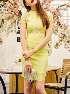 Shop Mini Dresses - Yellow Crew Neck Evening Bodycon Viscose Mini Dress online. Discover unique designers fashion at StyleWe.com.