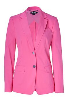STYLEBOP.com | Ultra Pink Stretch Cotton Blazer by DKNY | the latest trends from the capitals of the world