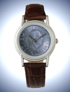 Women's Classic Brown Leather Strap Watch with Coin decor: Italy, 2 Lire 1939