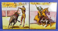 "Mid-Century Hand Painted Ceramic Tiles - Bullfight - Seville Spain - 8"" Square Decorative Ethnic Vintage by QueeniesCollectibles on Etsy"