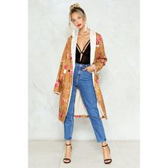 Nasty Gal Strike a Rose Floral Kimono ($70) ❤ liked on Polyvore featuring intimates, robes, gold, floral print kimono, nasty gal, patterned kimono, patterned robes and gold kimono
