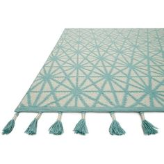 Loloi Justina Blakeney Kahelo Collection Rug Ivory/Aqua ($159) ❤ liked on Polyvore featuring home, rugs, cream rug, polyester rugs, hand loomed rug, aqua blue rug and hand-loomed rug
