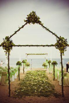 "Beach Wedding ""My Lime Green Beach Wedding"" | Catch My Party | http://catchmyparty.com/photos/410727#"