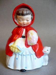 ks Vintage Napco Giftcraft Little Red Riding Hood Planter Figurine c1950s