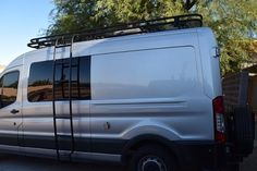 Ford Transit Van with Aluminess roof rack, ladder and rear bumper Off Road Bumpers, Winch Bumpers, Ford Transit Conversion, Ford Transit Camper, Van For Sale, Ladders, Roof Rack, Rv Living, Camper Van
