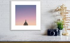 "Washington DC Photography: ""Capitol Crescent II"" Professional archival photographic PRINT ONLY of a crescent moon above a colorful sunrise over the US Capitol Dome. This is a one-day old crescent moon, which is my favorite kind. It is barely there and looks like a little smile. There were no clouds for this particular sunrise, but it was incredibly warm and glowy! Visit my full shop: JHKPhotographyStudio.etsy.com Kids Room Wall Art, Home Decor Wall Art, Nursery Wall Art, Modern Art Prints, Wall Art Prints, Poster Prints, Dc Photography, Lego Pictures, Architectural Prints"