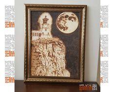 Ahşap Yakma -Deniz Feneri 2 Pyrogravure/PyroGraphi (Ahşap Yakma Resim) Ahşap Yakma El Sanatı Sadece 300 TL