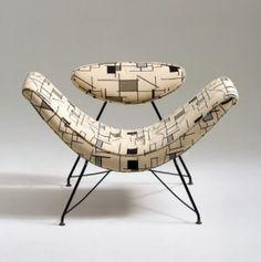 Delightful shape and upholstery! Chair (1955) by Austrian-born, Brazilian-based mid-century designer Martin Eisler. via Notes Design