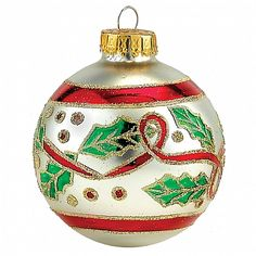 Red Bow w Green Holly on Silver Glass Ball Christmas Ornaments 4pc Set