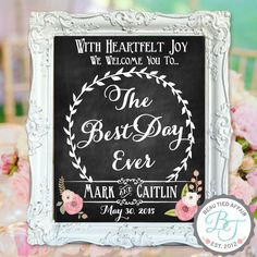 Wedding Chalkboard Sign The Best Day Ever by BeauTiedAffair