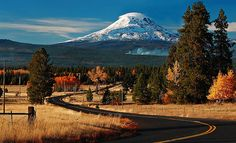 The road to Glenwood with Mt. Adams in the distance, Washington, USA.  Fall color and snow capped Mt. Adams...