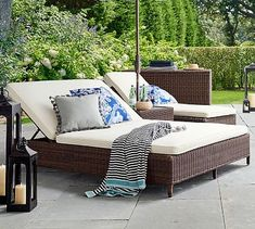 Shop Pottery Barn for expertly crafted outdoor furniture sets. Find patio furniture sets including outdoor chairs, dining tables and more, perfect for any style. Pool Patio Furniture, Patio Furniture Cushions, Garden Furniture, Outdoor Lounge Furniture, Poolside Furniture, Patio Rugs, Outdoor Sofa, Outdoor Living, Outdoor Ottomans