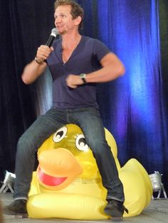 Sebastian on a duck. That is all.