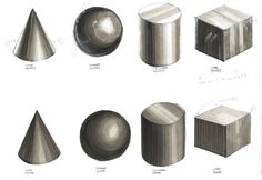 Simple tones of grey assist in rendering these 3D objects.