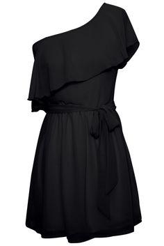 One Shoulder Chiffon Ruffle Dress