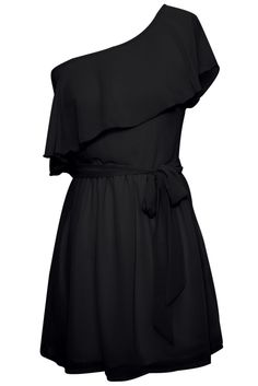 One Shoulder Chiffon Ruffle Dress