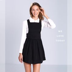 #black #jumper #dress #white #shirt #vestido #pichi #negro #camisa #blanca #okeysi Disponible en tiendas. Now in stores.