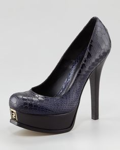 Fendista Croc-Embossed Pump by Fendi at Neiman Marcus.