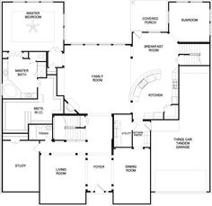 Open Floor Plan Kitchen Living Room manchester homes - the paddington 5 bedroom - floor plan | bedroom
