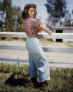 Gail Russell in a farm girl perfect plaid shirt and jeans.