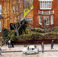 One Man and His Dog: Progress and Influences Carel Weight Datsun Cherry- Weight's selective use of perspective gives an interesting look and a naivety to the picture. I like the structure of the houses Naive, London Painting, Unique Buildings, Royal College Of Art, Rome Travel, Urban Landscape, Beautiful Islands, Figurative Art, Kunst