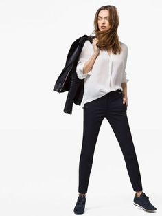 TROUSERS WITH LEATHER DETAILING - View all - Trousers - WOMEN - Latvia