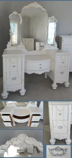 I wish I could find one of these antique vanities for Brooklyn's room - preferably with the center part lower for little girl playing dressup.