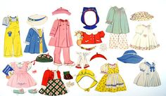 Vintage Paper Doll Girls Clothing 26 pieces c.1940s  Doll