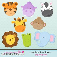 Jungle Animal Faces Cute Digital Clipart for Card Design, Scrapbooking, and Web Design. $5.00, via Etsy.