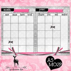 Grey Polkdots Filofax Printable Month on 2 Pages MO2P A5 PDF - Bows Instant Download